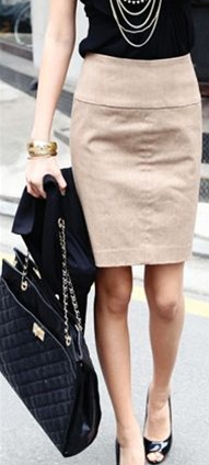 SOL IS EVERYTHING Beige Pencil Skirt