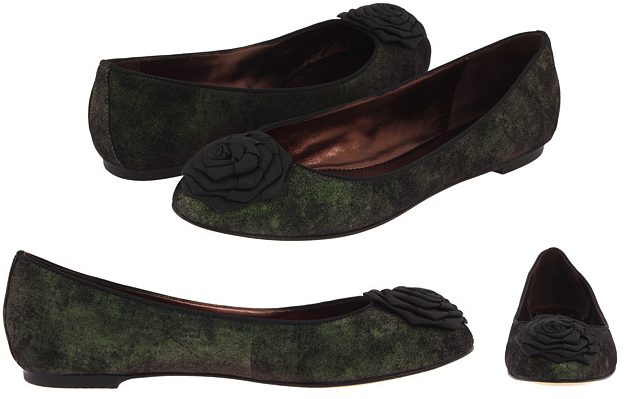 Green & Black Velvet Rose Ballet Flats