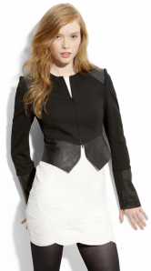 Robert Rodriguez Leather & Ponte Knit Crop Jacket