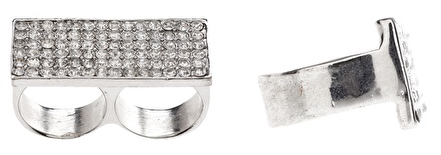 Rhinestone Encrusted Double Finger Box Ring