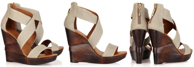 Opal Linen Wedge Sandals