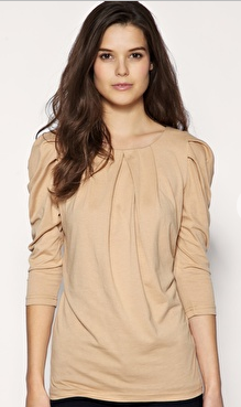 Pleat Front Zip Back Three-Quarter Sleeve Top