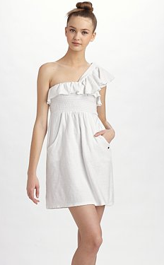 Smocked One-Shoulder Ruffle Mini Dress
