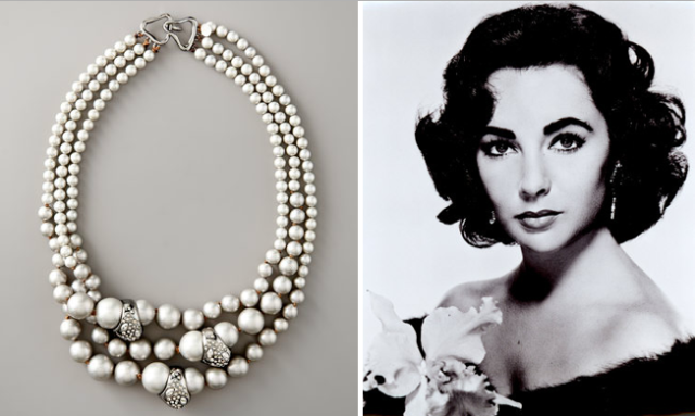 elizabeth taylor and alexis bittar pearl necklace