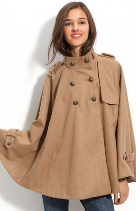 Camel Double Breasted Wool Cape