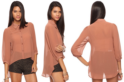Sheer High-Low Button Up