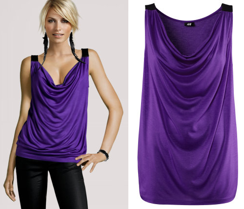 Sleeveless Glossy Purple Jersey Top