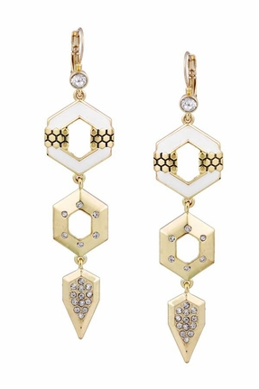 Belle Noel by Kim Kardashian 14KT Gold Honey Hexagon Drop Earrings With Pave and Ivory