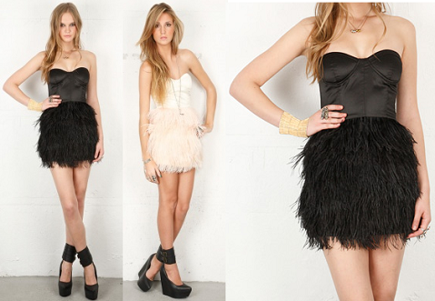 Blaque Label Feather Skirt Mini Dress
