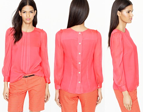 Neon Rose Silk Pintuck Blouse