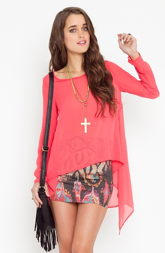 NasyGal Drape Tail Blouse - Coral
