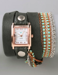 Turquoise Crystal Chain Wrap Watch