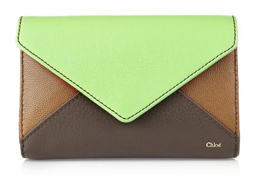 Chloé Color-block leather envelope clutch