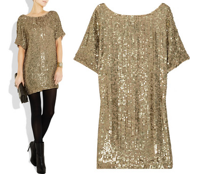Sequin-Embellished Crepe Dress