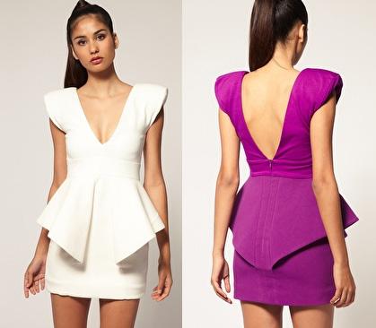 Aqua Claudia Structured Peplum Mini Dress