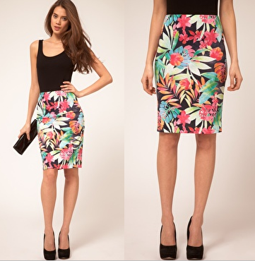 Pearl Tropical Print Pencil Skirt