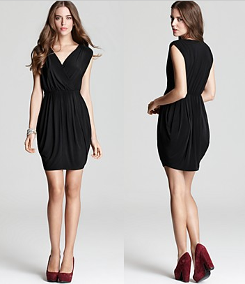 Black Coco Drape Front Dress