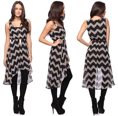 High-Low Zigzag Pattern Dress