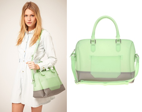 Minty Green Frosted Bowler Bag