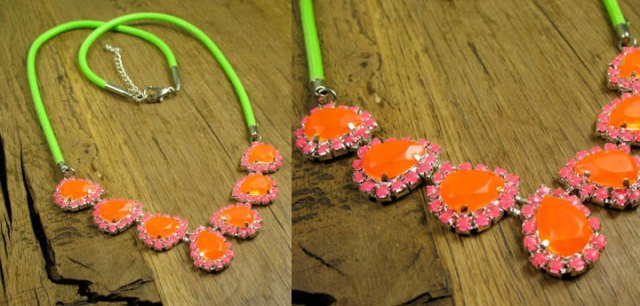 Neon Orange Teardrop Crystals with Neon Pink Pave with Neon Green Cord