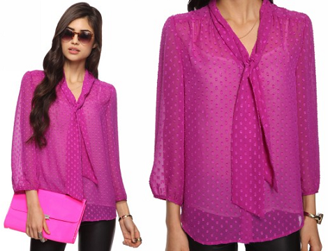 Purple Dotted Swiss Blouse