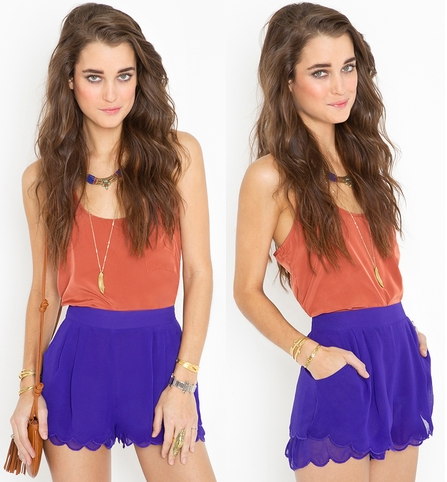 Royal Blue Petal Shorts