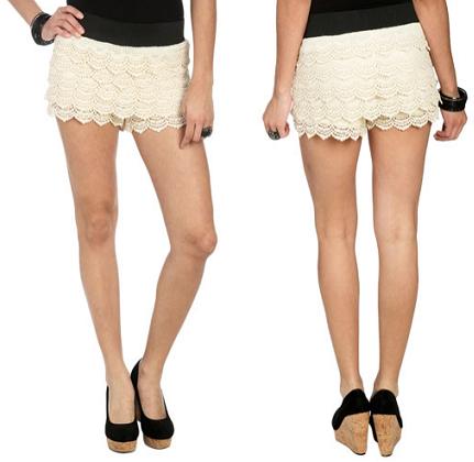 Cotton Crochet Tiered Short
