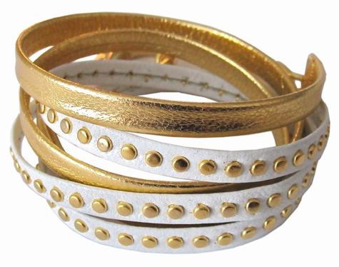 Gold & White Leather Wrap Bracelet