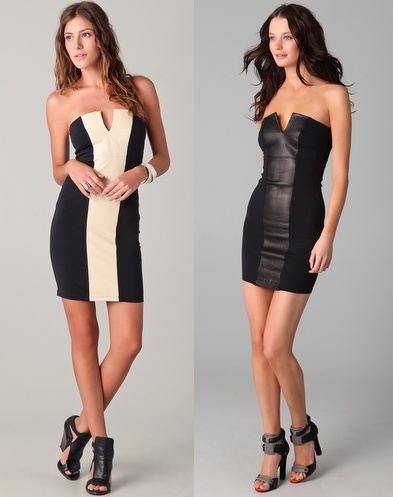 David Lerner Strapless Dress with Leather Panel
