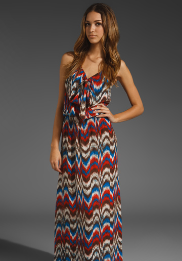 Parker Tie Front Maxi Dress in Coral Zig Zag