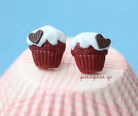 Red Velvet Cupcake Studs by PetitPlat