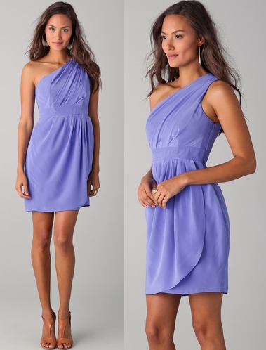 Shoshanna Lilac Draped One Shoulder Dress