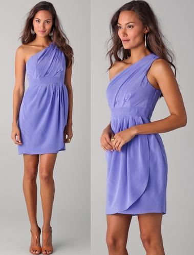 Shoshanna Lilac Draped One Shoulder Dress