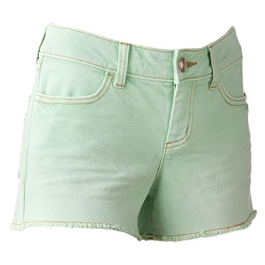 LC Lauren Conrad Mint Green Frayed Denim Shorts