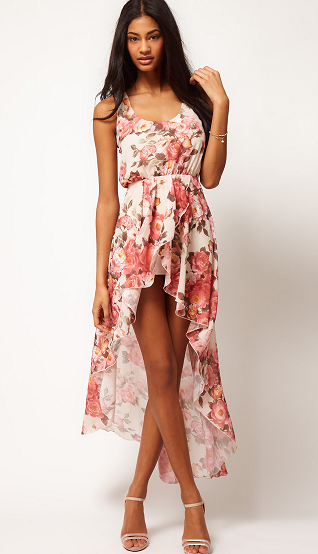 Love Chiffon Vintage Rose Wrap Hi Lo Dress
