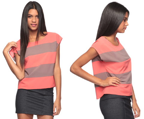 Coral & Cocoa Large Stripe Top