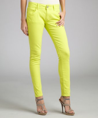 Romeo & Juliet Couture Neon Yellow Stretch Denim Skinny Jeans