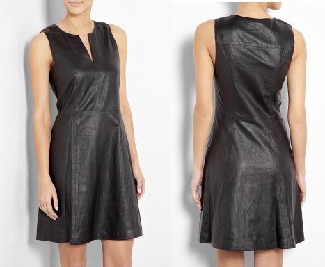 Theory leather shift dress