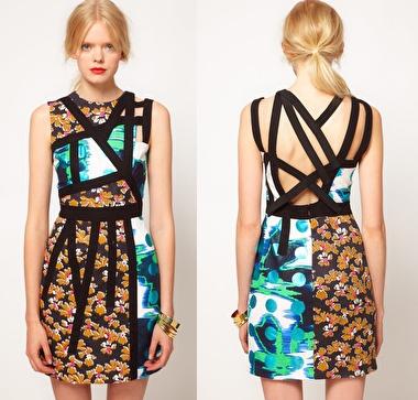 ASOS BLACK Strappy Dress In Print