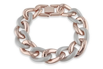 Grey Ceramic Pink Rhodium Bracelet