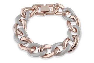 Grey Ceramic Pink Rhodium Bracelet