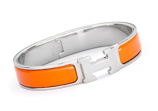 Hermès Clic H Orange Enamel Bangle