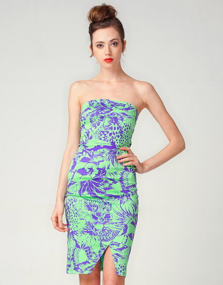 Motel Annelise Bodycon Dress in Lime & Purple Tiger Life Print