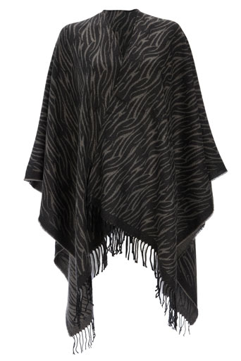 Wallis Grey Zebra Tassle Wrap