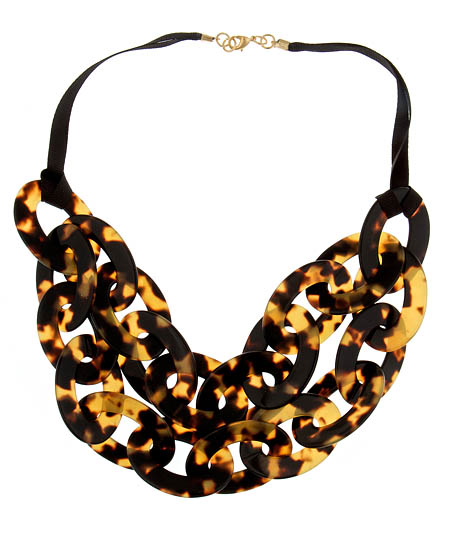 Bellissima Tortoiseshell Double-Strand Bib Necklace