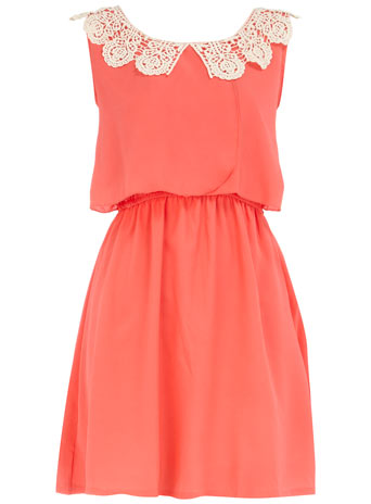 Dorothy Perkins Coral Crochet Detailed Dress