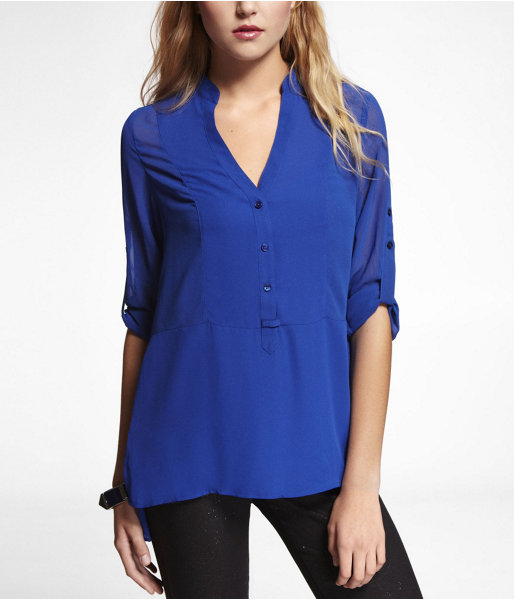 Express Long Convertible Sleeve Hi-Lo Hem Blouse