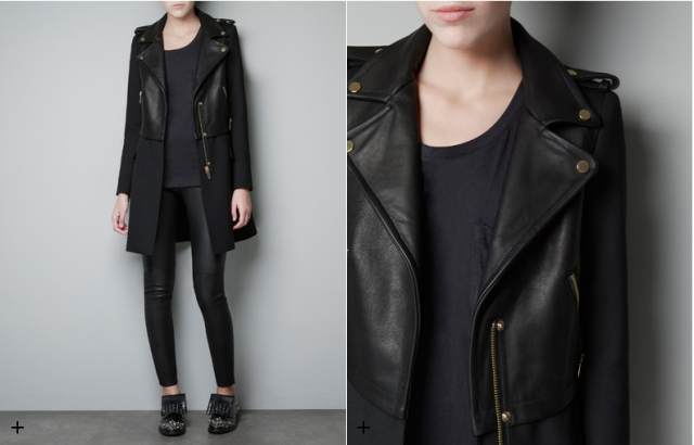 zara combined leather jacket