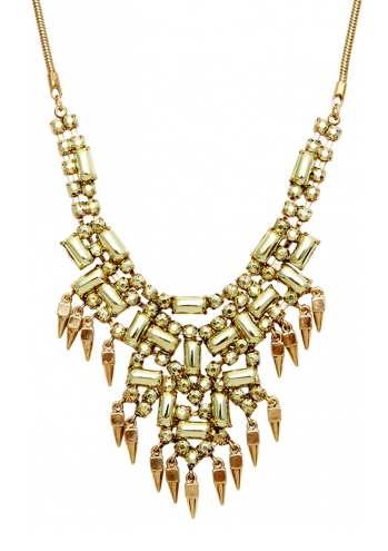 GOLD METALIZED STONE CLUSTER STATEMENT NECKLACE