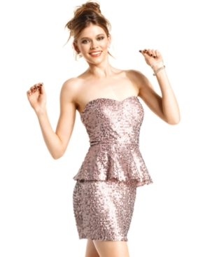 Blush Strapless Sequin Peplum Dress